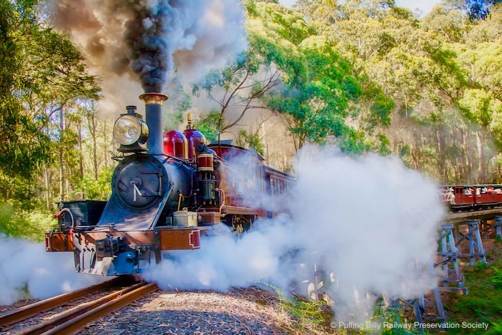 Puffing Billy: Ausflug mit einer historischen Dampflokomotive - Trestle Bridge No. 8 - Victoria