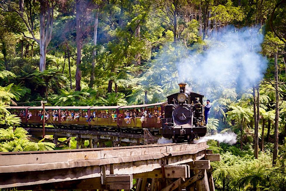 Puffing Billy Railway - Mit der historischen Dampflokomotive durch die Dandenong Ranges & über die Trestle Bridge - Umgebung von Melbourne - Victoria