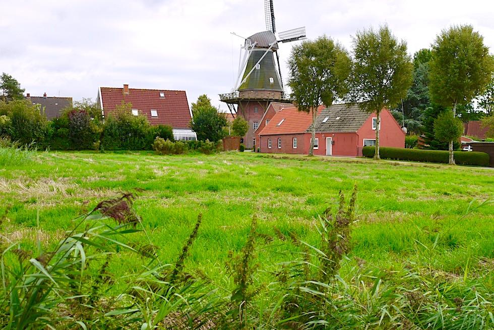 Rysum - die historische Windmühle ragt stolz über die Dächer des Krummhörner Warfendorfs - Ostfriesland