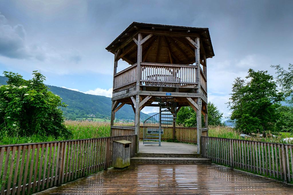 Holz- & Aussichtsturm im Bleistätter Moor: beste Ausblicke auf Ossiacher See & Naturparadies Moor-Seen - Slow Trail Ossiacher See - Kärnten, Österreich