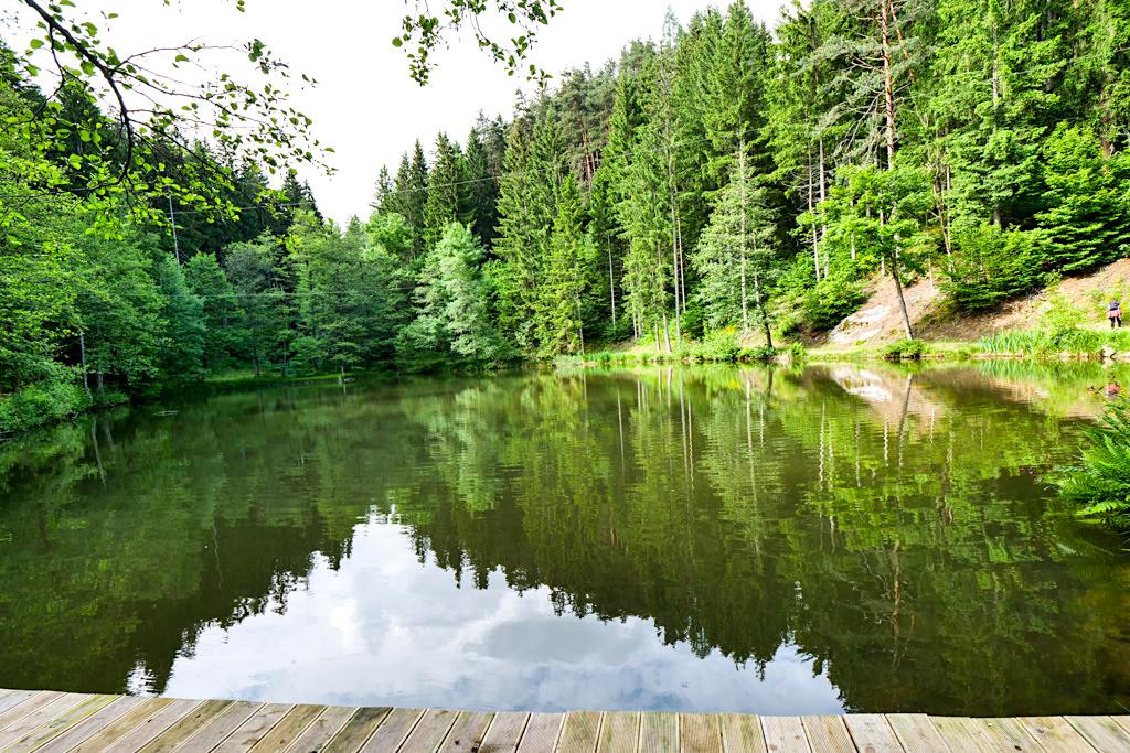 Zwergsee wie ein riesiger Spiegel im Wald - Slow Trails & Genusswandern am Millstätter See in Kärnten - Österreich