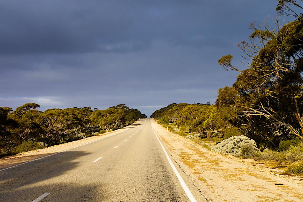 Nullarbor - Eyre Highway bei Wolkenstimmung eine Seltenheit in der trockenen Gegend - South Australia