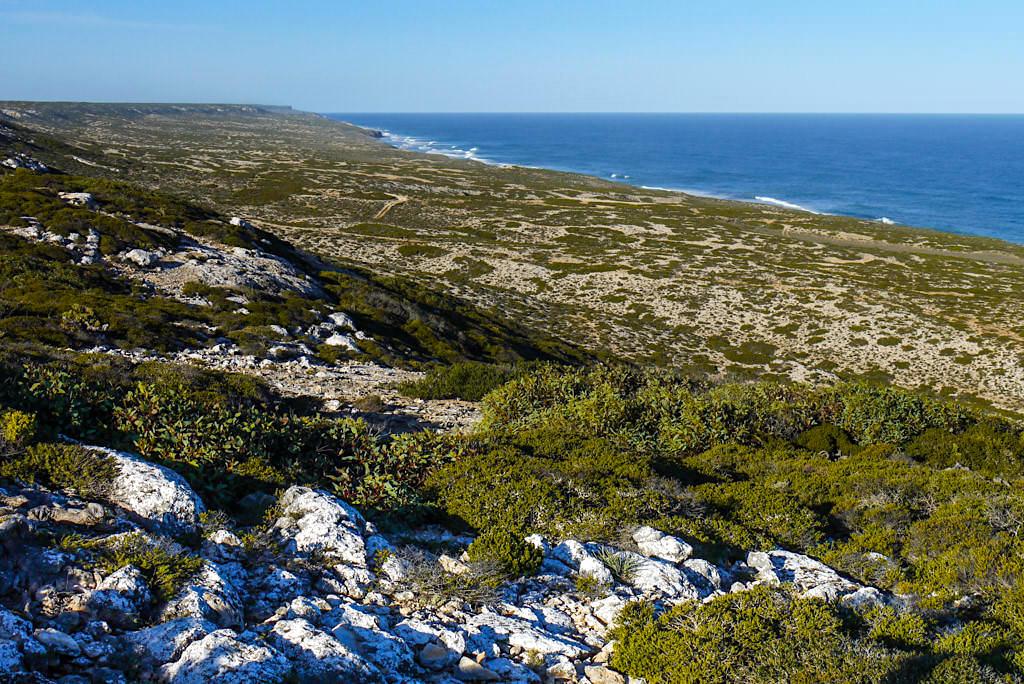 Nullarbor National Park in der Nähe von Border Village: aus Steilkippen werden sanfte Hänge - South Australia