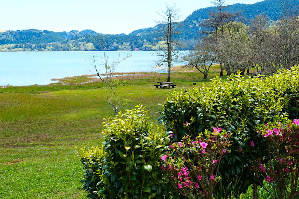 Lagoa das Furnas - Am Ufer des Furnas Sees gelegene Picknickplätze laden zum Verweilen ein - Sao Miguel, Azoren
