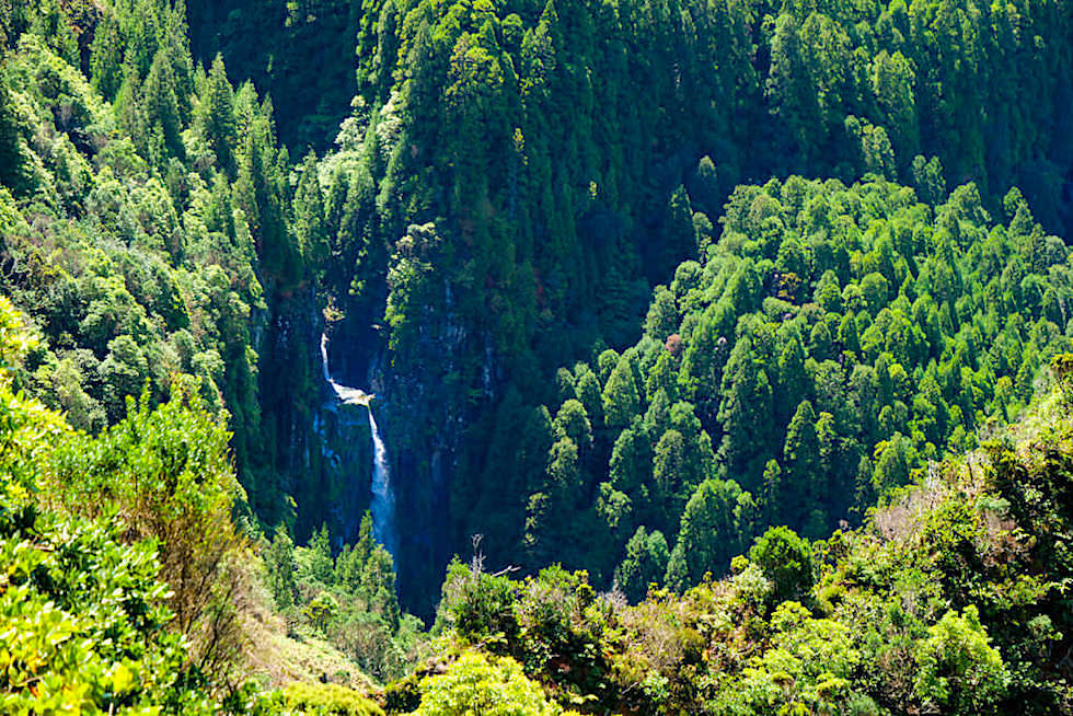 Ausblick auf den imposanten Wasserfall im Vale das Lombadas - Sao Miguel, Azoren
