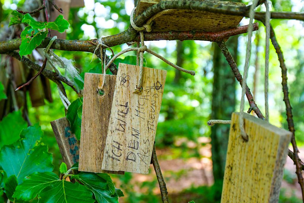 Kraftorte am Wörthersee: Kathreinkogel - Wunschbaum mit Wünschen auf Holzplättchen - Kärnten, Österreich
