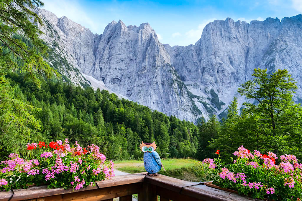 Ausblick Zacchi Hütte auf die Mangart Bergkette - Alpe Adria Trail & Laghi di Fusine - Tarvisio, Italien