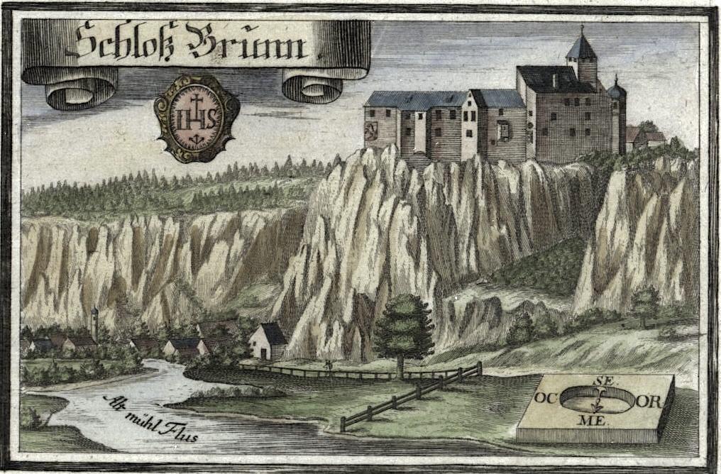 Schloss Prunn - Kupferstich von Michael Wening um 1700 - Altmühltal, Bayern