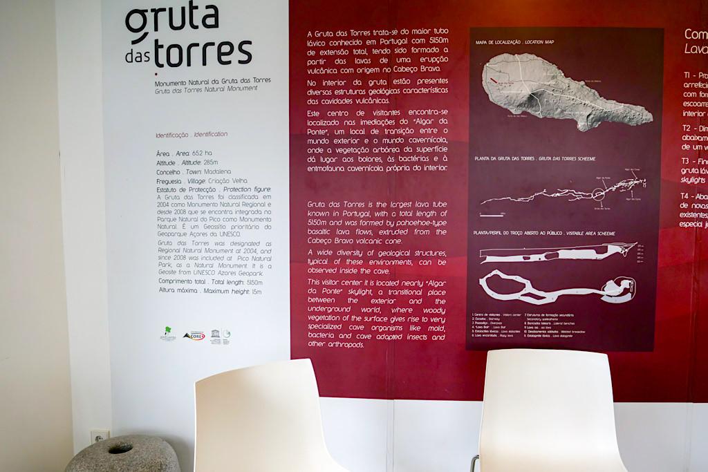 Gruta das Torres - Schautafeln im Besucherzentrum erklären Entstehung der Lavaröhren & Geologie der Insel - Pico, Azoren
