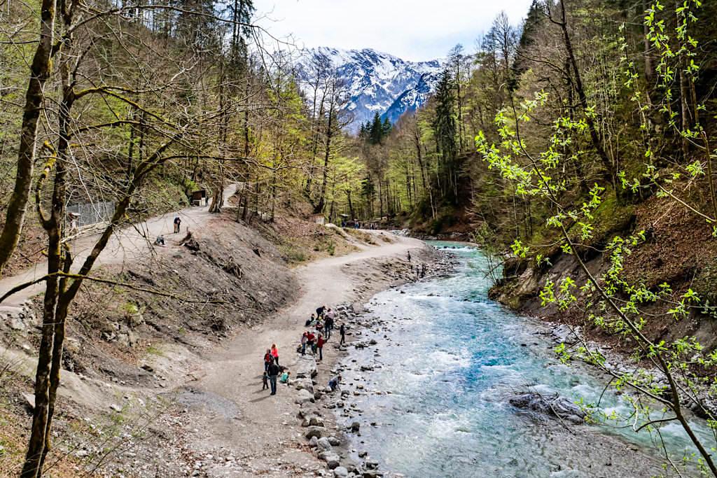 Wildbach Partnach & Ausblick auf das Reintal am Südende der Partnachschlucht - Bayern