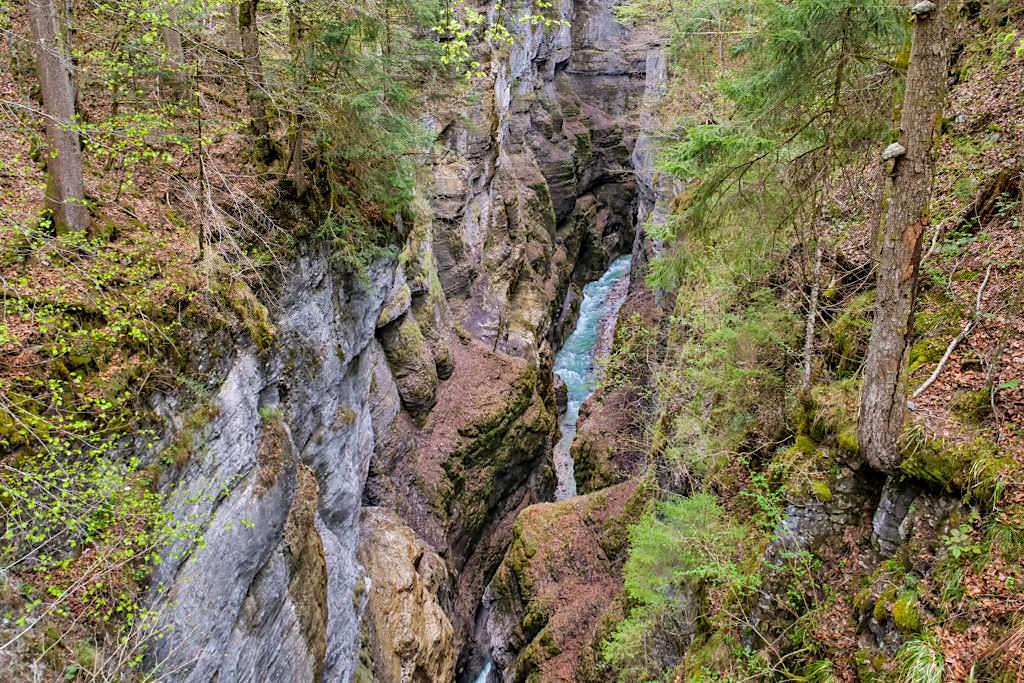 Partnachklamm von oben gesehen - Eiserne Brücke - Garmisch-Partenkirchen, Bayern