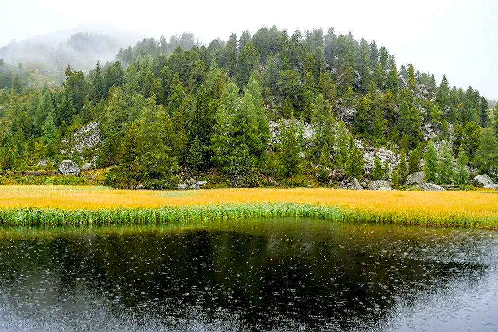 Düster, mystisch wirkender Windebensee bei Regen - Nockalmstraße - Kärnten, Österreich