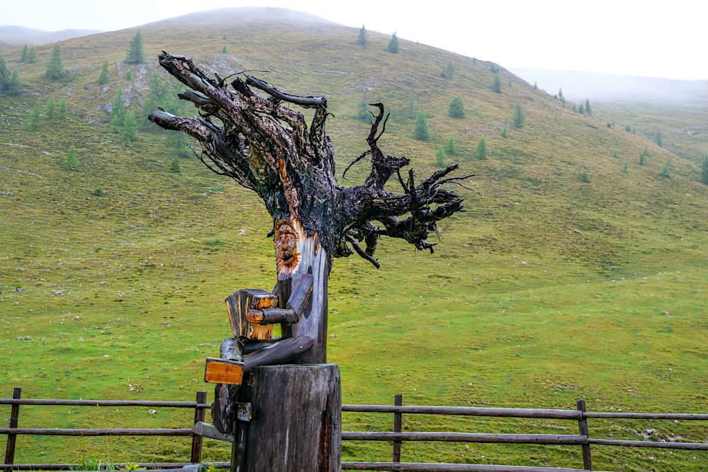 Zechneralm - Herrliche Holzschnitzereien begeistern die Besucher - Nockalmstraße - Österreich