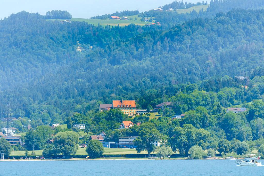 Typisches gebirgiges Bodenseeufer am Vorarlberg - Dreiländer-Schiffsrundfahrt MS Gunzo - Österreich
