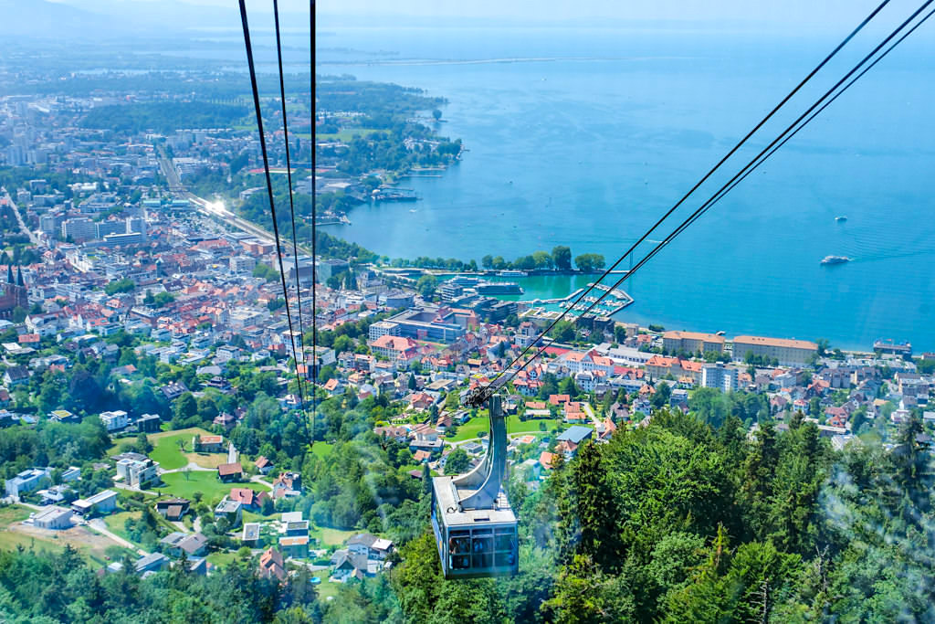 Bregenz Pfänderbahn - Grandioser Ausblick von der Gondel auf die Stadt, den Hafen & den See - Zwischenstopp auf der Dreiländer-Bodensee-Schiffsfahrt - Österreich