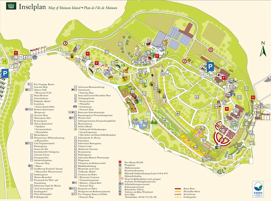 Inselplan Mainau mit allen Sehenswürdigkeiten und Attraktionen - Baden-Württemberg