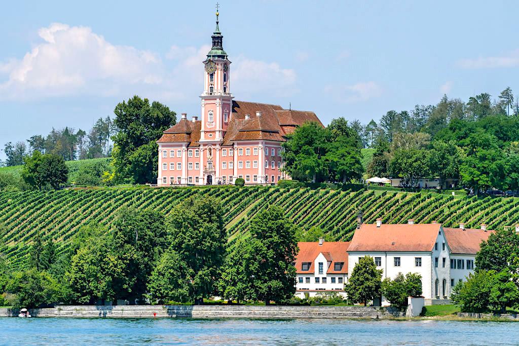 Klosterkirche Birnau mit Schloss Maurach - Panorama-Bodenseeschifffahrt - Baden-Württemberg