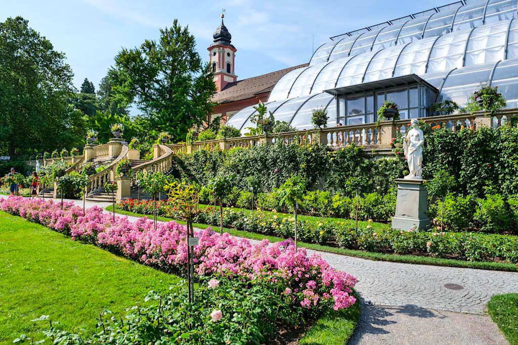 Blumeninsel Mainau - Ausblick auf Rosengarten & Palmenhaus im Hintergrund - Baden-Württemberg