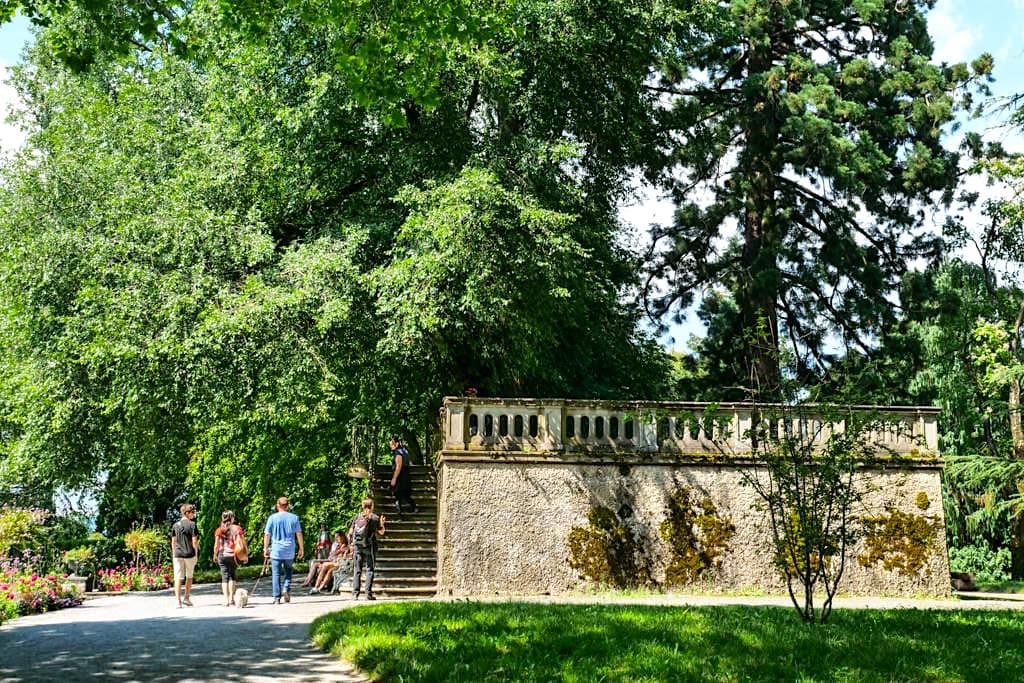 Insel Mainau - Vom ehemalige Wasserreservoir hat der Besucher einen guten Ausblick auf das Arboretum - Baden-Württemberg