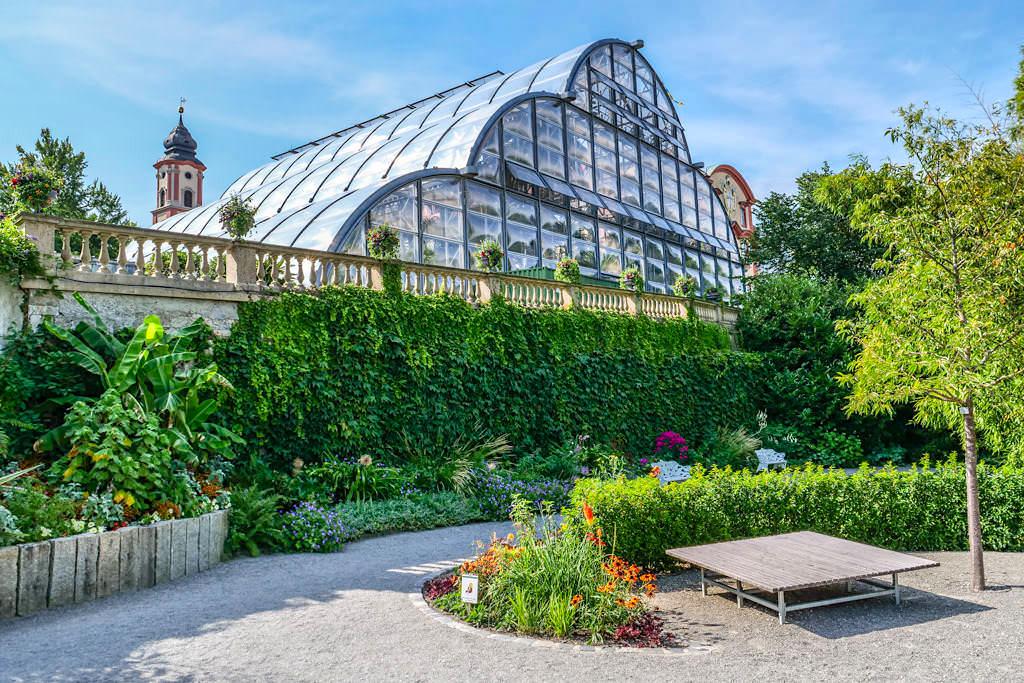 Glasüberdachtes Palmenhaus der Insel Mainau - Baden-Württemberg
