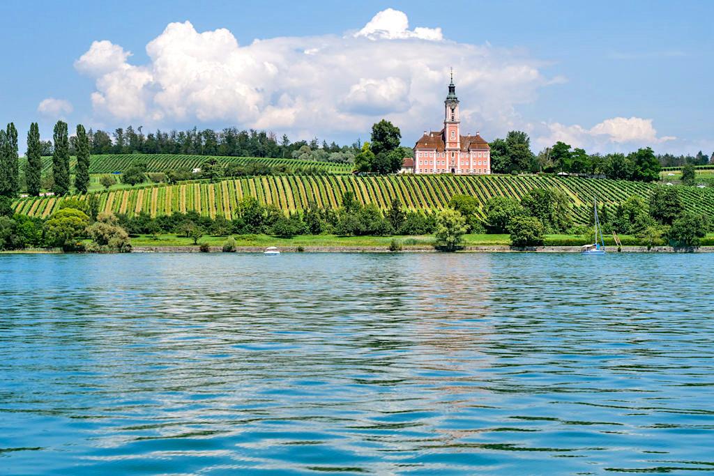 Grandioser Ausblick auf die Wallfahrtkirche Birnau & Weinberge - Panorama-Schiffsfahrt auf dem Bodensee - Überlinger See - Baden-Württemberg