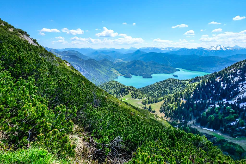 Grandioser Ausblick beim Aufstieg zum Herzogstand Gipfel hinter zum Walchensee & auf alternative Wanderwege - Kammüberschreitung Herzogstand Heimgarten - Bayern