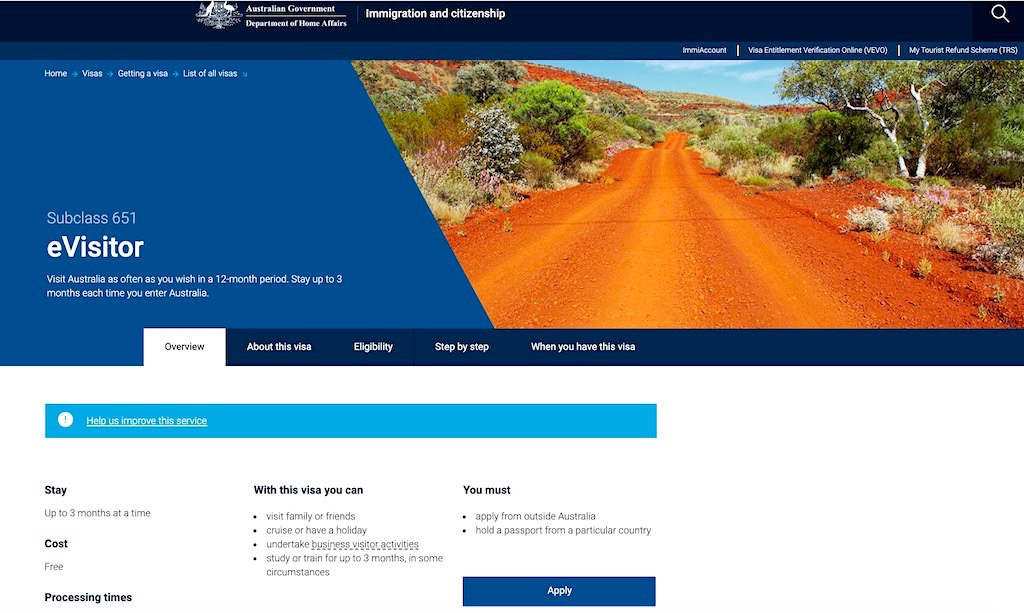 Australien eVisitor 651 - Besucher- oder Touristenvisum für Australien - Australien Planung & Reise
