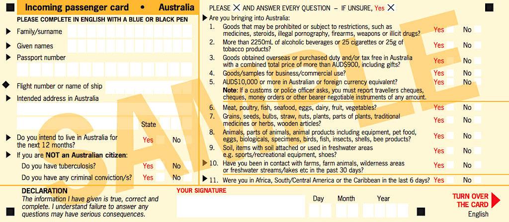 Einreiseformular Australien ist vor der Ankunft am Flughafen ausfüllen - Incoming Passenger Card Australia