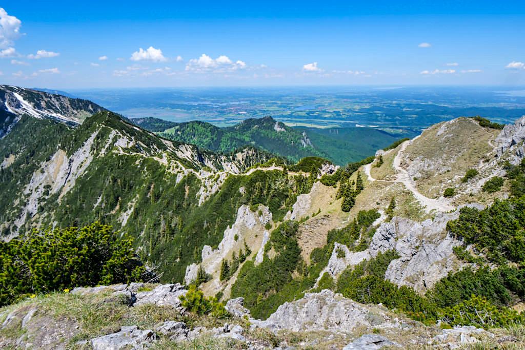 Herzogstand Heimgarten Überschreitung auf dem Gebirgskamm: der schönste Teil der Rundwanderung - Bayern