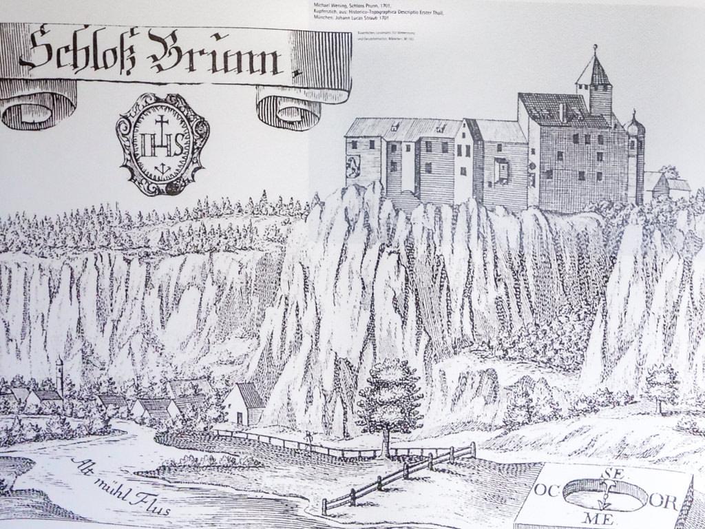 Abbildung eines Kupferstichs von der Burg Prunn auf der Burgführung - Altmühltal - Bayern