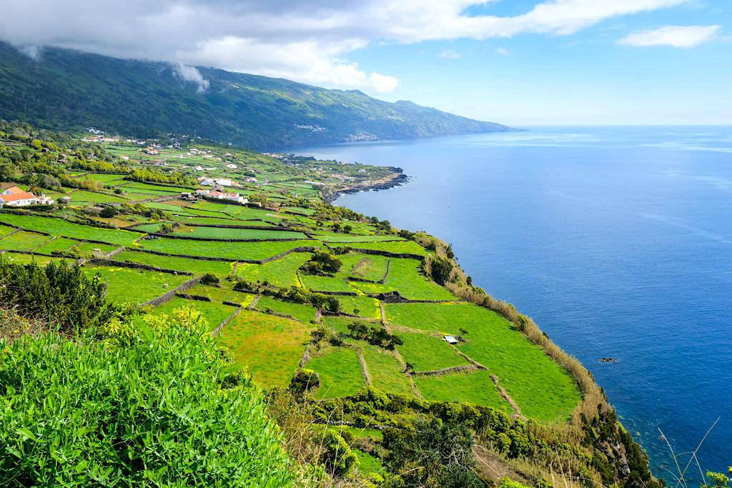 Pico Sehenswürdigkeiten: Miradouro da Ponta do Arrife - einer der schönsten Ausblicke auf grüne Weideflächen und Berge auf der Insel Pico - Azoren