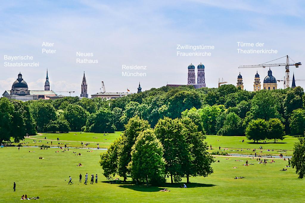 Monopteros - Grandioser Ausblick über die Skyline von München mit seinen berühmten Türmen & den Englischer Garten - Bayern