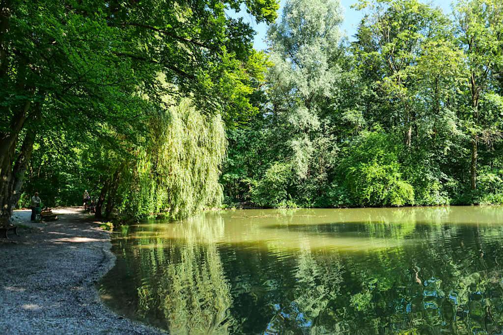 Der Uferbereich am Schwammerlweiher lädt zum Relaxen & Seele baumeln ein - Englischer Garten von seiner schönsten Seite - München, Bayern