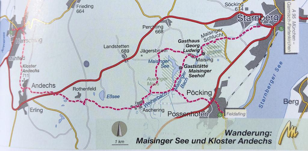 Karte Starnberger See - Maisinger See - Ammersee Wanderung - Bayern
