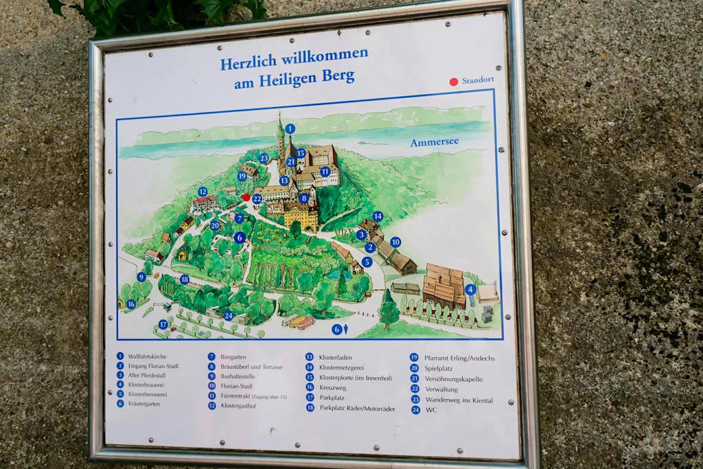 Kloster Andechs - Übersichtskarte der Klosteranlage - Bayern