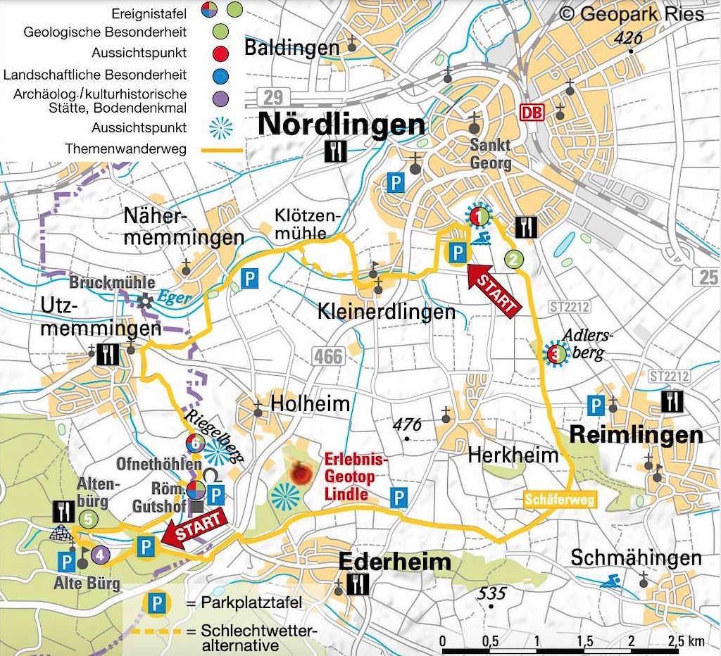 Schäferweg Wanderkarte - Schönste Rundwanderung im Donau-Ries bei Nördlingen - Bayern