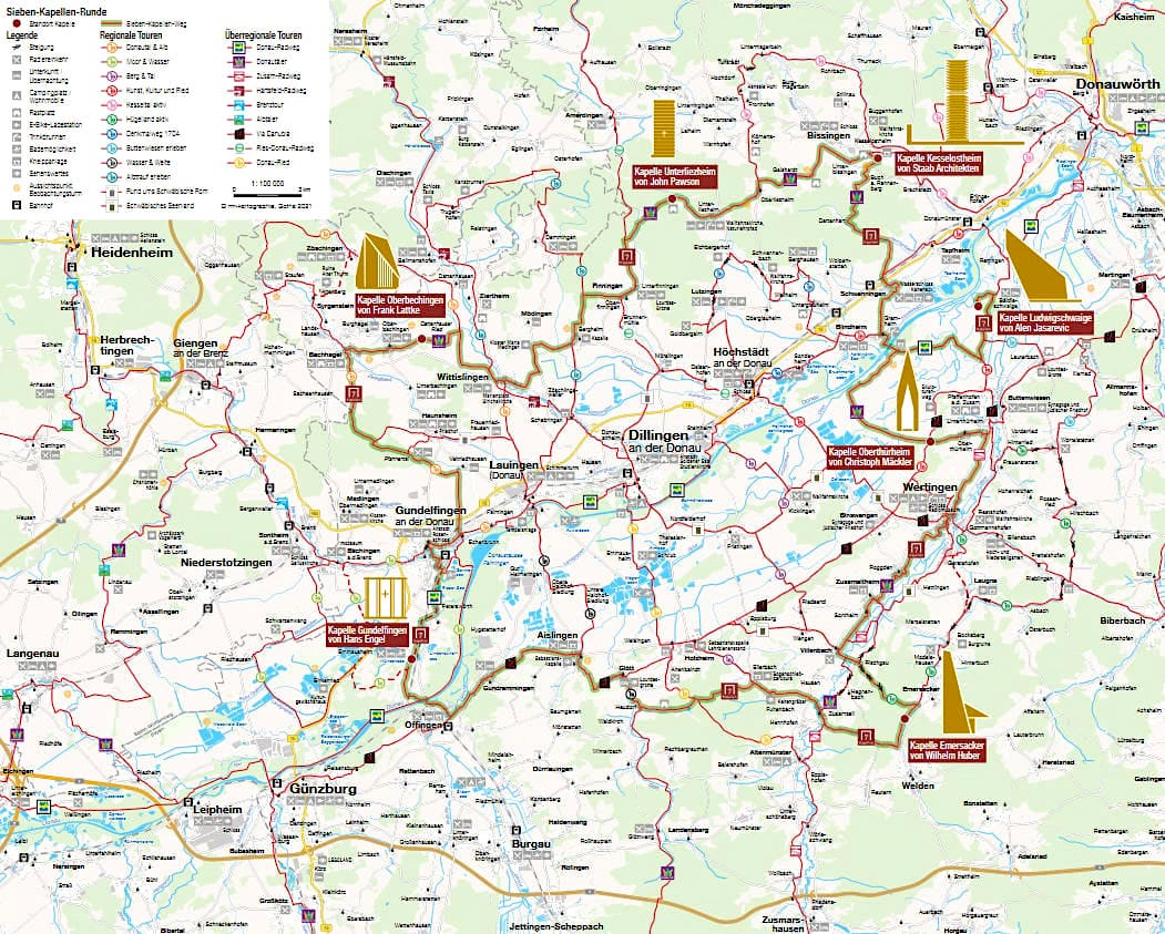 7 Kapellen Radrundweg - Karte - Bayerisch Schwaben