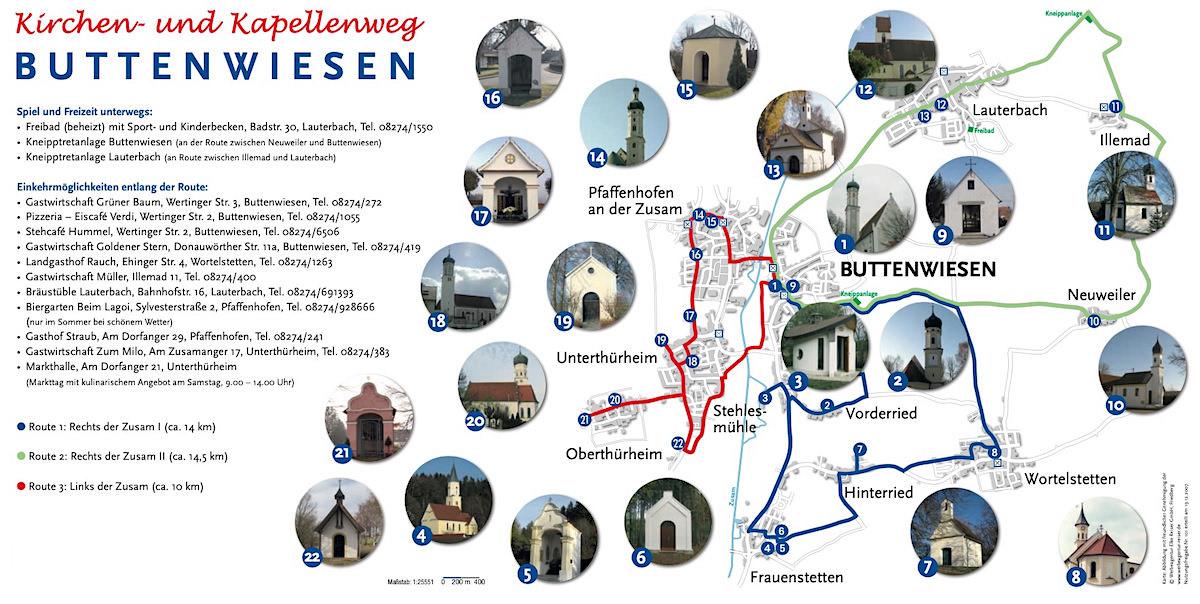 Kirchen- und Kapellenweg Buttenwiesen - Wanderungen zu den 7 Kapellen im Dillinger Land, Bayern