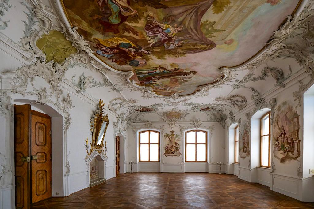 Schloss Leitheim - Festsaal mit wunderbarem Stuck & Fresken - Schönste Burgen & Schlösser Donau-Ries, Bayern