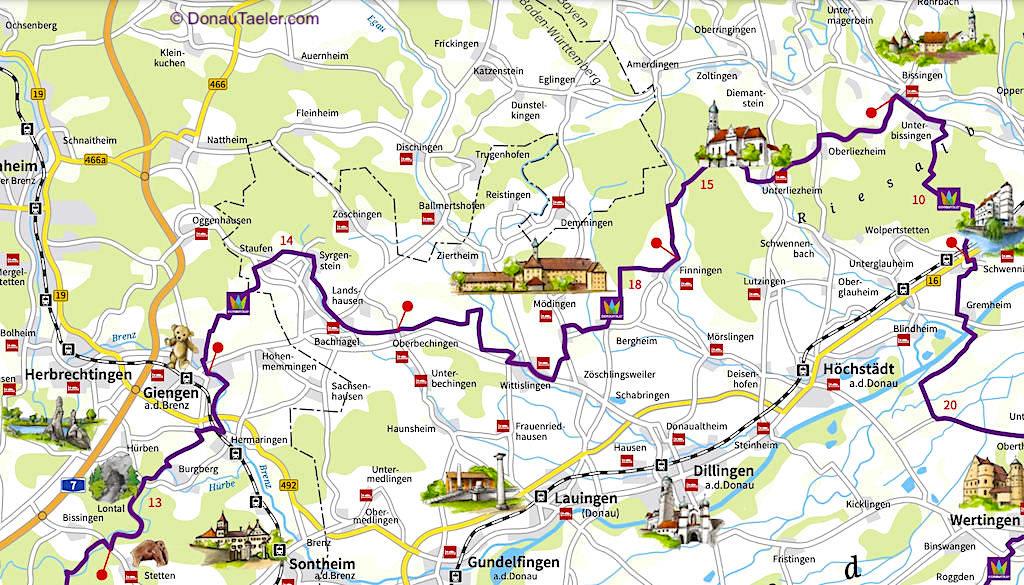 Nördliche DonauTäler Radwege Karte - Dillinger Land, Bayern